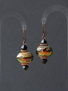 Venus planet earrings by HandmadeEarringsUK on etsy using Unkamen earwires