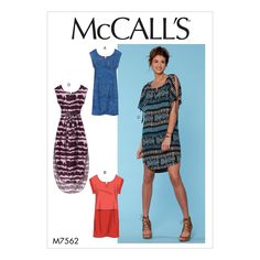 Vintage Sewing Patterns McCall's 7562 Misses' Pullover Dresses with Sleeve Ties, Pocket Variations, and Belt sewing pattern - Tunic Dress Patterns, Dress Making Patterns, Tunic Pattern, Easy Sewing Patterns, Mccalls Sewing Patterns, Vintage Sewing Patterns, Clothing Patterns, Skirt Patterns, Coat Patterns