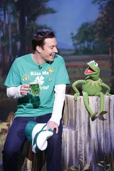 """It's not easy being green, but Jimmy Fallon and Kermit The Frog can't help but smile during a St. Patrick's Day celebration on """"The Tonight Show Starring Jimmy Fallon"""" on March 17 in New York"""