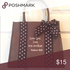 Purse Purse with scripture on it.  Brown. Bags Totes