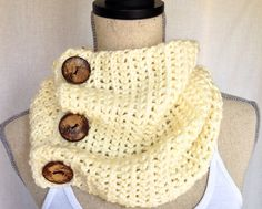 Crochet Cowl Neck Warmer Scarf - Whitecaps Short Ribbed Yarn with Coconut Buttons on Etsy, $45.00 CAD