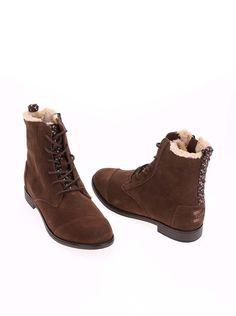 Hnedé dámske kožené členkové topánky s kožúškom Toms Alpa Boot 20c3198c544