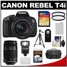 Canon EOS Rebel T4i Digital SLR Camera Body & EF-S 18-135mm IS STM Lens with 55-250mm IS Lens + 32GB Card + Case + Flash + Battery + Tripod + Filters + Accessory Kit by Canon. $1154.95. Kit includes:♦ 1) Canon EOS Rebel T4i Digital SLR Camera Body & EF-S 18-135mm IS STM Lens♦ 2) Canon EF-S 55-250mm f/4.0-5.6 IS II Zoom Lens♦ 3) Transcend 32GB SecureDigital Class 10 (SDHC) Card♦ 4) PD 2000 Digital SLR System Camera Case♦ 5) PD DSLR300 High Power Auto Fl...