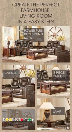 We know everyone loves farmhouse style furniture, and we got you covered! With beautiful rooms like the Eric Church Highway To Home Renegade Brown Leather Reclining Living Room, farmhouse style is made simple and easy! Interior Design Kitchen, Interior Design Living Room, Living Room Designs, Kitchen Decor, Shelf Furniture, Living Room Furniture, Living Room Decor, Farmhouse Style Furniture, Modern Farmhouse