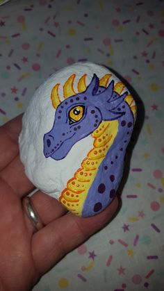 Dragon head free hand painted Rock