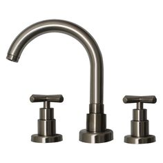 Luxe widespread lavatory faucet with tubular swivel spout, cross handle and pop-up waste