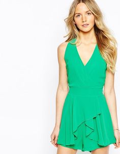 Wal G Halter Playsuit with Drape Front Size:M (Green)  RRP £35.00