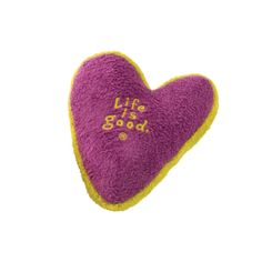 Life Is Good Squeaky Heart Plush Dog Toy | PupLife Dog Supplies