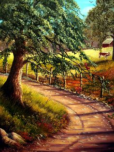 Country Road Painting - Country Road Fine Art Print - David G Paul