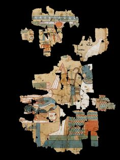 Polychrome papyrus fragment depicting a scene from the Book of the Dead.  Egypt, New Kingdom, XVIIIth or XIXth Dynasty, 1550-1070 B.C.