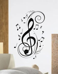 """Music NotesThe latest in home decorating. Beautiful wall vinyl decals, that are simple to apply, are a great accent piece for any room, come in an array of colors, and are a cheap alternative to a custom paint job.Default color is black MEASUREMENTS:28"""" x 17""""About Our Wall Decals:* Each decal is made of high quality, self-adhesive and waterproof vinyl.* Our vinyl is rated to last 7 years outdoors and even longer indoors.* Decals can be applied to any clean, smooth and flat surface. Put them on y Vinyl Wall Art, Wall Decal Sticker, Wall Stickers, Vinyl Decals, Wall Mural, Music Tattoo Designs, Music Tattoos, Art Tattoos, Music Lover Tattoo"""