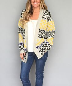 Look at this Coco and Main Gray & Yellow Tribal Open Cardigan - Women on #zulily today!