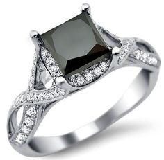2.30ct Black Princess Cut Diamond Engagement Ring 18k White Gold