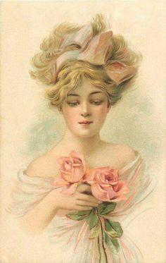 nő rózsával