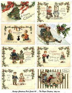 Vintage Christmas Post Cards No. 1 Digital Collage Sheet. via Etsy. #vintage #Christmas #postcard