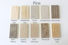 How 10 Different Stains Look on Different Pieces of Wood - Within the Grove Stain can easily change color depending on the wood you're using. We tested 10 different stains, light to dark, on 4 different pieces of wood to show you. Stain On Pine, Oak Stain, Grey Stain, Staining Pine Wood, How To Whitewash Wood, Best Wood Stain, White Wood Stain, Floor Stain Colors, Wood Colors