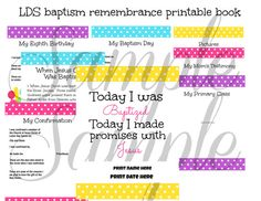 Instant Download LDS Baptism PRINTABLE Remembrance Book - Download Great to be 8 CTR