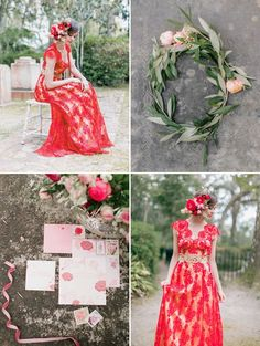 Custom Claire Pettibone 'Brigitte' gown in red re-embroidered lace w/ gold silk lining & belt   Photo: Kelly Sauer via the Elizabeth Messina 'A Lovely Workshop'   Floral: Amy Osaba