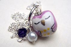 Purple Owl Necklace Girls Owl Jewlery Gift for Girl - pinned by pin4etsy.com