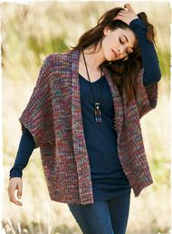 A lofty knit in hand-painted jewel tones, our sumptuous alpaca and wool kimono has drop shoulders, elbow sleeves and an open placket.Additional view of Borealis Alpaca KimonoWomens Cardigan Sweaters: Shop Alpaca & Pima Cotton Knit Cardigan Sweaters For Wo Crochet Cardigan Pattern, Knit Cardigan, Knit Crochet, Knit Shrug, Knitted Poncho, Knitting Designs, Knitting Stitches, Ärmelloser Pullover, Crochet Clothes