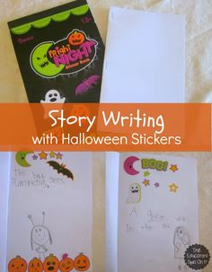 Halloween Story Writing with Stickers. An easy way to get kids writing.