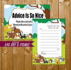 Advice for Mom Woodland Animals - Printable Baby Shower Advice for Mom Woodland Animals Theme, Instant Download