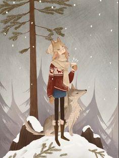 May Lee Illustration Art Anime Fille, Anime Art Girl, Art And Illustration, Art Mignon, Folk Art Flowers, Cafe Art, Anime Scenery, Bunt, Gifs