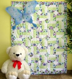Lavender Green and Hue  - a handmade baby crib quilt