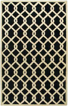 Ivory/Black Transitional 5 X 8 Area Rug