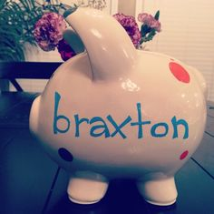 A personal favorite from my Etsy shop https://www.etsy.com/listing/223080642/polka-dot-piggy-bank