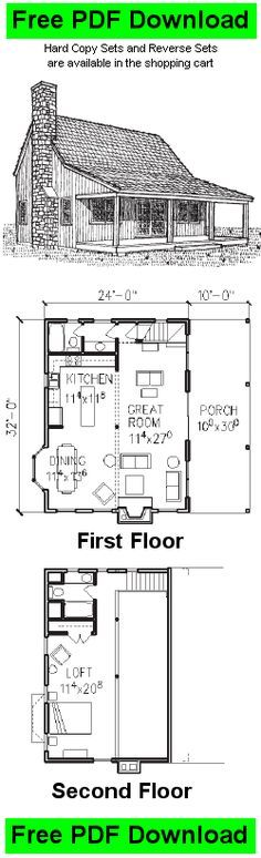 Free Cabin Plan And Blueprint   Classic Cabin 3 Plans   C156 · Small CabinsSmall  HousesLog ...