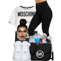 Moschino by ballislife on Polyvore featuring moda, Moschino and NIKE