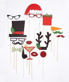 This Christmas Photo Booth Prop Set is perfect! #zulilyfinds