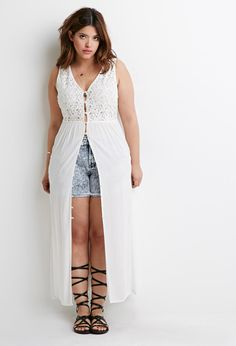 FOREVER 21+ Lace-Paneled Maxi Dress - I just got this in the mail and I'm completely obsessed with it! #fatgirlflow