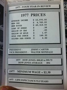 1977 Cost of Living — Print and use at wall art in basement kitchen. 1977 Cost of Living — Print … Those Were The Days, The Good Old Days, School Reunion, Cost Of Living, I Remember When, Ol Days, Teenage Years, History Facts, Vintage Ads