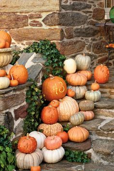 Etch Your Pumpkins - Fabulous Fall Decorating Ideas - Southernliving. Announce your address in style by cleverly etching your house number (or your initials or name) into a pumpkin. You can pile a combination of traditional and heirloom pumpkins on your front steps, and top with your etched design.