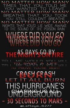 Song lyrics from Hurricane - 30 Seconds To Mars