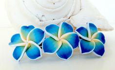 Hawaiian Plumeria Barrette blue polymer clay Hair by natashaaloha, $14.00