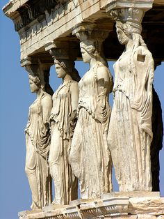 Caryatids on the south porch of the Erechtheion (420 BC), Athens, Greece