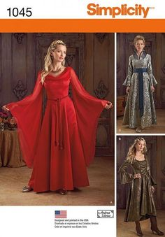 Simplicity Ladies Sewing Pattern 1045 Historial Style Dresses Costumes (Simpl...