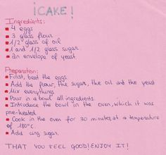 This recipe for a delicious cake was presented by Maria Angeles Ortega. 1st CSE IES Martín Halaja, La Carolina. Jaén, 2013