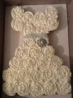 Cupcakes shaped into a wedding gown for a Bridal Shower