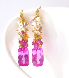 Forget Me Not! Luxury Pink #Sapphire and Multicolored Gemstone Earrings