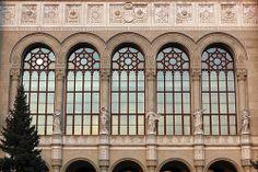 Windows of the Vigado Music Hall in Budapest, Hungary