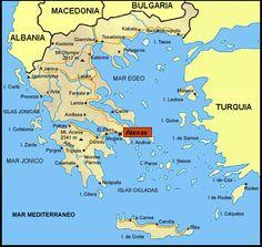Mapa de Grecia peninsular actual en la que antes Grecia pertenecía a la zona geográfica de Hélade.
