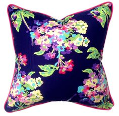 Fabulous floral cushion in midnight blue, purple and pink with raspberry pink piping