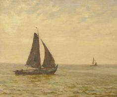Willem Bastiaan Tholen (Amsterdam 1860-1931 Den Haag) Vissersboten op zee - Kunsthandel Simonis en Buunk, Ede (Nederland).
