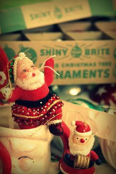 I am on the look out for shiney brite ornies this year and of course more vintage santa mugs...