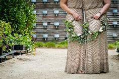 No way, Bouquet! Alternative Bouquet Ideas and Inspiration Metallic Bridesmaid Dresses, Bridesmaid Flowers, Flower Bouquet Wedding, Floral Wedding, Rustic Wedding, Wedding Dresses, Bridal Bouquets, Bridesmaids, Alternative Bouquet