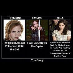 True Story of Hermione Granger from Harry Potter, Katniss Everdeen from The Hunger Games and Bella from Twilight Catching Fire, Geek House, Tv Movie, Citations Film, Funny Memes, Jokes, Harry Potter Memes, Potter Facts, Book Memes